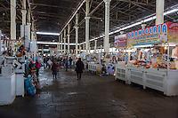 Peru, Cusco, San Pedro Market Interior.  Pork Butcher's Stand on the Right.