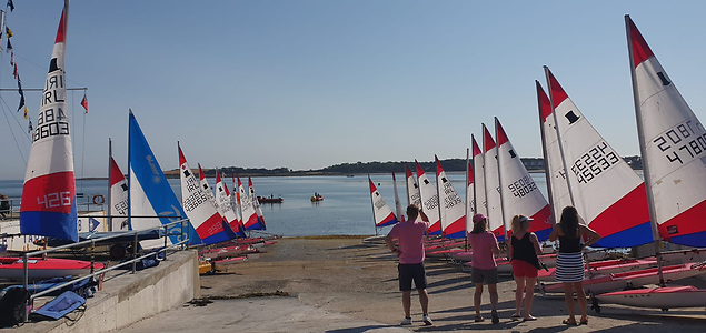 Ballyholme Yacht Club Cadets prepare ready to launch Toppers and Pico dinghies