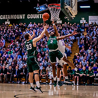 19 January 2019: Binghamton University Bearcat Forward Chancellor Barnard, a Graduate from Columbia, MD, in first half Men's Basketball action against the University of Vermont Catamounts at Patrick Gymnasium in Burlington, Vermont. The Bearcats fell to the Catamounts 78-50 in America East conference play. Mandatory Credit: Ed Wolfstein Photo *** RAW (NEF) Image File Available ***