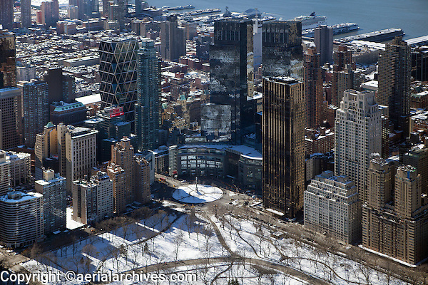 aerial photograph Columbus Circle and Central Park, Manhattan, New York City after a snow storm