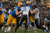 Pitt lineman Alex Bookser (78) blocks for running back James Conner. The Pitt Panther defeated the Duke Blue Devils 56-14 at Heinz Field in Pittsburgh, Pennsylvania on November 19, 2016.