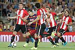 FC Barcelona's Luis Suarez (2l) and Athletic de Bilbao's Aymeric Laporte (l), Xabier Etxeita (c), Carlos Gurpegui (2r) and Benat Etxebarria during Supercup of Spain 2nd match.August 17,2015. (ALTERPHOTOS/Acero)
