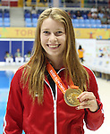 Toronto, Ontario, August 12, 2015. Sarah Mehain wins gold at  the swimming during the 2015 Parapan Am Games . Photo Scott Grant/Canadian Paralympic Committee