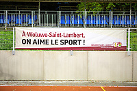 Advertisement of Woluwe Saint-Lambert pictured during a female soccer game between FC Femina White Star Woluwe and Eendracht Aalst on the sixth matchday in the 2021 - 2022 season of Belgian Scooore Womens Super League , friday 8 th of october 2021  in Woluwe , Belgium . PHOTO SPORTPIX | KRISTOF DE MOOR