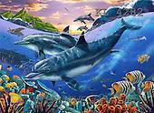 Interlitho, Lorenzo, FANTASY, paintings, dolphins, fish, KL, KL4282,#fantasy# illustrations, pinturas