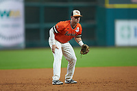 Ben Haefner (6) of the Sam Houston State Bearkats on defense against the Mississippi State Bulldogs during game eight of the 2018 Shriners Hospitals for Children College Classic at Minute Maid Park on March 3, 2018 in Houston, Texas. The Bulldogs defeated the Bearkats 4-1.  (Brian Westerholt/Four Seam Images)