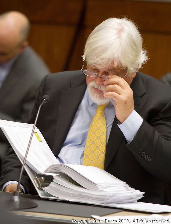 PAUL WATSON, Founder of the Sea Shepherd Conservation Society, testifies in a civil hearing in the United States Court of Appeals, Ninth Circuit in Seattle, Washington under Commissioner Peter L. Shaw in Seattle, Wash. on November 6, 2013. The Institute of Cetacean Research, Kyodo Senpaku Kaisha, Ltd., and other Japanese seafood business leaders claim Watson and the Sea Shepherd ships disrupted their whale hunt in the Southern Ocean during the 2012-2013 whaling season thereby violating an injunction they brought up against him issued by the court last December. (copyright Karen Ducey/KarenDucey.com)