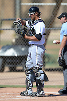 Chicago White Sox catcher Kevan Smith (41) during an Instructional League game against the Los Angeles Dodgers on October 8, 2013 at Camelback Ranch Complex in Glendale, Arizona.  (Mike Janes/Four Seam Images)