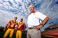 New Iowa State offensive coordinator Courtney Messingham will work closely with Cyclone quarterbacks Steele Jantz (2) and Jared Barnett (7) to devise a potent offense. Iowa State football media day at Jack Trice Stadium in Ames on August 2, 2012. (Christopher Gannon/The Register)