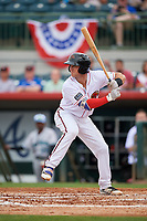 Florida Fire Frogs catcher Brett Cumberland (28) at bat during a game against the Daytona Tortugas on April 7, 2018 at Osceola County Stadium in Kissimmee, Florida.  Daytona defeated Florida 4-3.  (Mike Janes/Four Seam Images)