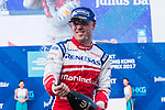 Felix Rosenqvist of Sweden from Mahindra Racing sprays champagne after the FIA Formula E Hong Kong E-Prix Round 2 at the Central Harbourfront Circuit on 03 December 2017 in Hong Kong, Hong Kong. Photo by Marcio Rodrigo Machado / Power Sport Images