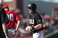 Oregon State Beavers second baseman Andy Armstrong (9) holds at first base during a game against the Gonzaga Bulldogs on February 16, 2019 at Surprise Stadium in Surprise, Arizona. Oregon State defeated Gonzaga 9-3. (Zachary Lucy/Four Seam Images)