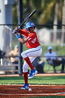 Manuel Gutierrez (5) during the Dominican Prospect League Elite Florida Event at Pompano Beach Baseball Park on October 14, 2019 in Pompano beach, Florida.  (Mike Janes/Four Seam Images)
