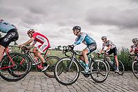 Hugo Hofstetter (FRA/Cofidis) and Mikhel Räim (EST/Israël Cycling Academy) riding the cobbles. <br /> <br /> <br /> 2nd Elfstedenronde 2018<br /> 1 day race: Brugge - Brugge 196.3km