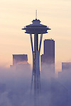 Seattle, Space Needle silhouetted with fog at sunrise, Washington State; Pacific Northwest; USA;