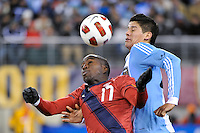 Jozy Altidore (17) of the United States and Marcos Rojo (24) of Argentina go up for a hrader. The United States (USA) and Argentina (ARG) played to a 1-1 tie during an international friendly at the New Meadowlands Stadium in East Rutherford, NJ, on March 26, 2011.
