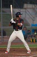 AZL Giants Black shortstop Francisco Medina (19) at bat during an Arizona League game against the AZL Athletics at the San Francisco Giants Training Complex on June 19, 2018 in Scottsdale, Arizona. AZL Athletics defeated AZL Giants Black 8-3. (Zachary Lucy/Four Seam Images)