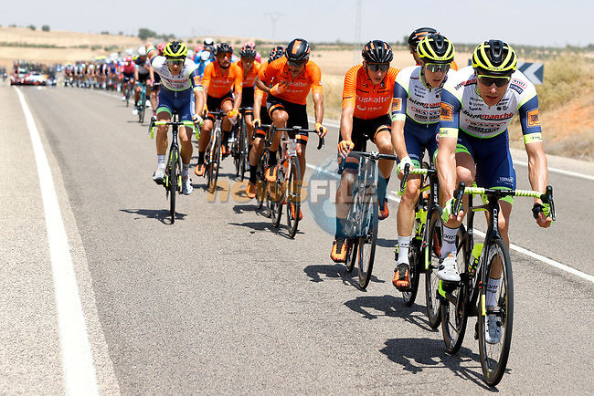 The peloton led by Intermarché-Wanty-Gobert Matériaux during Stage 5 of La Vuelta d'Espana 2021, running 184.4km from Tarancón to Albacete, Spain. 18th August 2021.    <br /> Picture: Luis Angel Gomez/Photogomezsport | Cyclefile<br /> <br /> All photos usage must carry mandatory copyright credit (© Cyclefile | Luis Angel Gomez/Photogomezsport)