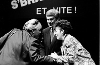 September 14,1985 File Photo - Pauline Marois, Pierre-Marc Johnson and Francine Lalonde<br /> take part in a debate between all candidates in the Parti Quebecois leadership race which was eventually won by Pierre-Marc Johnson