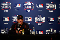 Cleveland Indians manager Terry Francona during an interview before Game 5 of the Major League Baseball World Series against the Chicago Cubs on October 30, 2016 at Wrigley Field in Chicago, Illinois.  (Mike Janes/Four Seam Images)