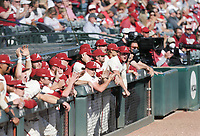 Arkansas players cheer, Saturday, April 3, 2021 during the ninth inning of a baseball game at Baum-Walker Stadium in Fayetteville. Check out nwaonline.com/210404Daily/ for today's photo gallery. <br /> (NWA Democrat-Gazette/Charlie Kaijo)