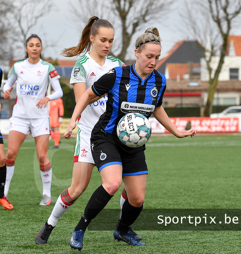 OHL's Marith De Bondt pictured defending on Celien Guns (10 Brugge) during a female soccer game between Club Brugge Dames YLA and Oud Heverlee Leuven on the 8 th matchday of the 2020 - 2021 season of Belgian Scooore Womens Super League , saturday 21 th November 2020  in Knokke , Belgium . PHOTO SPORTPIX.BE | SPP | DAVID CATRY
