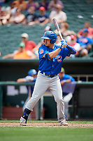 Iowa Cubs right fielder Bijan Rademacher (24) at bat during a game against the Memphis Redbirds on May 29, 2017 at AutoZone Park in Memphis, Tennessee.  Memphis defeated Iowa 6-5.  (Mike Janes/Four Seam Images)