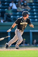 Second baseman Alec Paradowski (15) of the Wofford Terriers in a SoCon Tournament game against Western Carolina on Wednesday, May 25, 2016, at Fluor Field at the West End in Greenville, South Carolina. Western won, 10-9. (Tom Priddy/Four Seam Images)