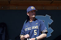 CHAPEL HILL, NC - MARCH 08: Head coach Link Jarrett #5 of the University of Notre Dame during a game between Notre Dame and North Carolina at Boshamer Stadium on March 08, 2020 in Chapel Hill, North Carolina.