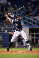 San Antonio Missions shortstop Jose Rondon (13) at bat during a game against the Tulsa Drillers on June 1, 2017 at ONEOK Field in Tulsa, Oklahoma.  Tulsa defeated San Antonio 5-4 in eleven innings.  (Mike Janes/Four Seam Images)