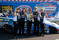 Sep 2, 2019; Clermont, IN, USA; NHRA funny car driver John Force celebrates with crew after winning the US Nationals at Lucas Oil Raceway. Mandatory Credit: Mark J. Rebilas-USA TODAY Sports