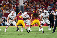LOS ANGELES, CA - SEPTEMBER 11: Drake Nugent, Barrett Miller, Walter Rouse during a game between University of Southern California and Stanford Football at Los Angeles Memorial Coliseum on September 11, 2021 in Los Angeles, California.