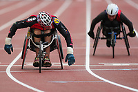 5th September 2020, Brussels, Netherlands;  Belgiums Peter Genyn L hits the finish line during the 100m Wheelchair Men at the Diamond League Memorial Van Damme athletics event at the King Baudouin stadium in Brussels, Belgium