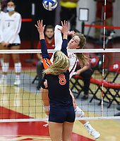Arkansas Junior Jillian Gillen (10) goes up for spike against Auburn Graduate Liz Reich (8) on Sunday, Oct. 10, 2021, during play at Barnhill Arena, Fayetteville. Visit nwaonline.com/211011Daily/ for today's photo gallery.<br /> (Special to the NWA Democrat-Gazette/David Beach)