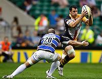 Photo: Richard Lane/Richard Lane Photography. London Wasps v Bath Rugby. Aviva Premiership. St George's Day  Game. 23/04/2011. Wasps' Dan Ward-Smith attacks.