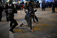 MADRID, SPAIN - FEBRUARY 17:  Demonstrators clash with police during a Protest against the imprisonment of Spanish rapper Pablo Hasel on February 17 in Madrid, Spain.  (Photo by Joan Amengual / VIEWpress