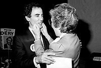 """Montreal (QC) Canada- -July 31 1984  File Photo - <br /> Sheila Finestone (R) choosen as liberal candiate for the  riding of Mount Royal over William Dery (L)... In 1984 she was elected as a Liberal Member of Parliament for the Montreal riding of Mount Royal. She was re-elected in the 1988, 1993 and 1997 elections.<br /> <br /> Finestone was sworn to the Privy Council in November 1993 as Secretary of State (Multiculturalism and Status of Women). Finestone was appointed to the Senate of Canada in August 1999. She completed her term in the Senate in 2002 when she reached the mandatory retirement age of 75.<br /> <br /> She was a member of the board of the Canadian Landmine Foundation.<br /> <br /> In 2008, Finestone was the recipient of the Distinguished Service Award of the Canadian Association of Former Parliamentarians,[2] """"presented annually to a former parliamentarian who has made an outstanding contribution to the country and its democratic institutions.""""[3] The award was accepted on her behalf by her son Peter, due to Finestone's inability to attend, following health challenges.[4]"""