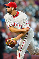 Philadelphia Phillies pitcher Phillippe Aumont #48 delivers during the Major League baseball game against the Houston Astros on September 16th, 2012 at Minute Maid Park in Houston, Texas. The Astros defeated the Phillies 7-6. (Andrew Woolley/Four Seam Images).