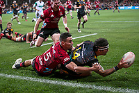 Will Jordan tackles Jonah Lowe during the 2021 Super Rugby Aotearoa final between the Crusaders and Chiefs at Orangetheory Stadium in Christchurch, New Zealand on Saturday, 8 May 2021. Photo: Joe Johnson / lintottphoto.co.nz