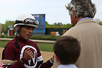 April 10, 2015: Jockey John Velazquez talking racing with trainer Steve Asmussen after the running of the Apple Blossom Handicap at Oaklawn Park in Hot Springs, AR. Justin Manning/ESW/CSM
