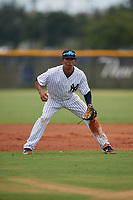 GCL Yankees East third baseman Asdrubal Alvarez (38) during a Gulf Coast League game against the GCL Phillies East on July 31, 2019 at Yankees Minor League Complex in Tampa, Florida.  GCL Phillies East defeated the GCL Yankees East 4-3 in the second game of a doubleheader.  (Mike Janes/Four Seam Images)