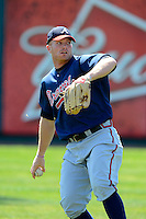 Atlanta Braves outfielder Robby Hefflinger #37 during practice before a minor league Spring Training game against the Philadelphia Phillies at Al Lang Field on March 14, 2013 in St. Petersburg, Florida.  (Mike Janes/Four Seam Images)