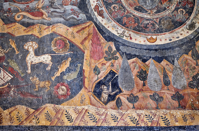 """Pictures & images of the interior fresco depicting 13th-century depiction of the """"Beast of the Apocalypse"""" and figures of the Zodiac. The Eastern Orthodox Georgian Svetitskhoveli Cathedral (Cathedral of the Living Pillar) , Mtskheta, Georgia (country). A UNESCO World Heritage Site.<br /> <br /> Currently the second largest church building in Georgia, Svetitskhoveli Cathedral is a masterpiece of Early Medieval architecture completed in 1029 by Georgian architect Arsukisdze on an earlier site dating back toi the 4th century."""