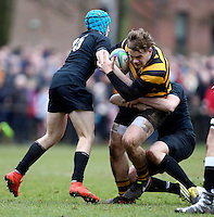 Saturday 18th February 2017 | CCB vs RBAI<br /> <br /> Callum Reid during the Ulster Schools' Cup Quarter Final clash between Campbell College Belfast and RBAI at Foxes Field, Campbell College, Belmont, Belfast, Northern Ireland.<br /> <br /> Photograph by John Dickson | www.dicksondigital.com