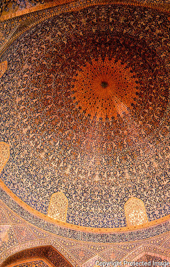 World Civilization:  Islamic Architecture--Isfahan, Iran. Masjid-i-Shah.  View of the interior of one of the domes.