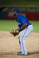 AZL Rangers first baseman Tyreque Reed (5) on defense against the AZL Cubs on July 24, 2017 at Sloan Park in Mesa, Arizona. AZL Cubs defeated the AZL Rangers 2-1. (Zachary Lucy/Four Seam Images)