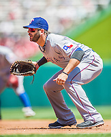 31 May 2014: Texas Rangers first baseman Mitch Moreland in action against the Washington Nationals at Nationals Park in Washington, DC. The Nationals defeated the Rangers 10-2, notching a second win of their 3-game inter-league series. Mandatory Credit: Ed Wolfstein Photo *** RAW (NEF) Image File Available ***