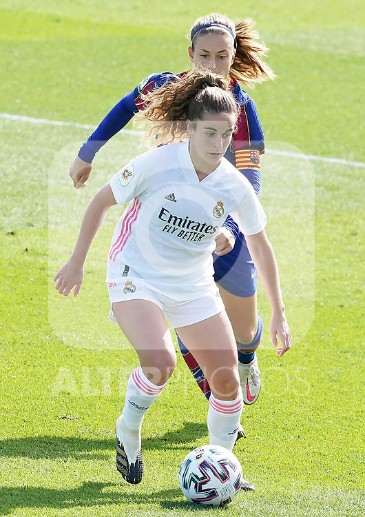 First official match and first classic in the history of women's Real Madrid.<br /> Real Madrid's Teresa Abelleira (f) and FC Barcelona's Alexia Putellas during Spanish Female League match. October 4,2020. (ALTERPHOTOS/Acero)
