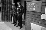 Security guards  outside the Marron Maternity Unit, Oldham Hospital Lancashire, where Louise Brown was conceived by IVF 1978.