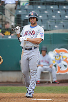 Binghamton Mets outfielder Cory Vaughn (25) during game against the New Britain Rock Cats at New Britain Stadium on May 23 2013 in New Britain, Connecticut.  New Britain defeated Binghamton 1-0.  Tomasso DeRosa/Four Seam Images